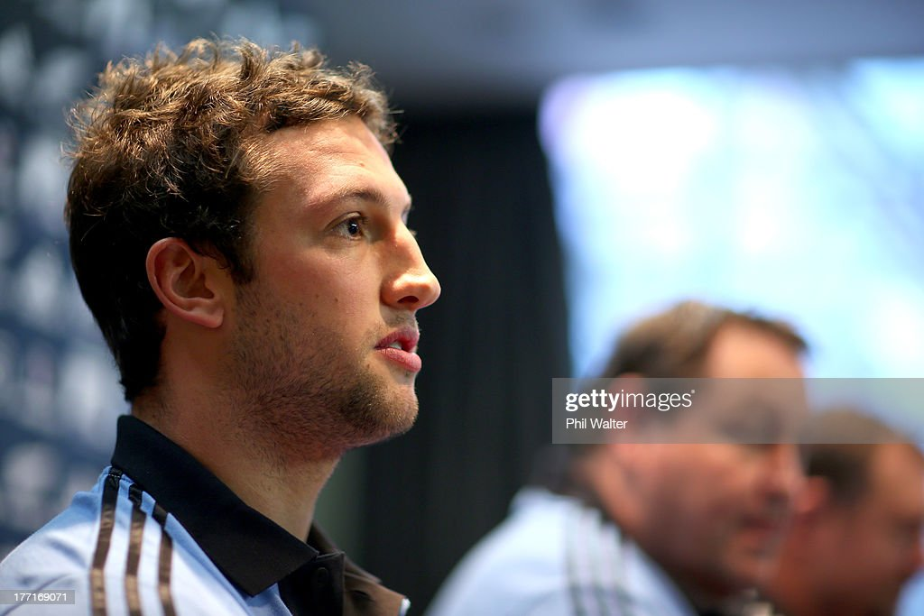 Tom Taylor of the All Blacks speaks to the media during a New Zealand All Blacks Media Session at the InterContinental Hotel on August 22, 2013 in Wellington, New Zealand.