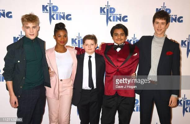 """Tom Taylor, Rhianna Dorris, Louis Ashbourne Serkis, Dean Chaumoo and Angus Emrie attend a gala screening of """"The Kid Who Would Be King"""" held at Odeon..."""