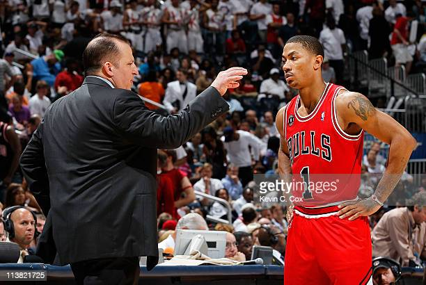 Tom Thibodeau converses with Derrick Rose of the Chicago Bulls during Game Three of the Eastern Conference Semifinals in the 2011 NBA Playoffs...