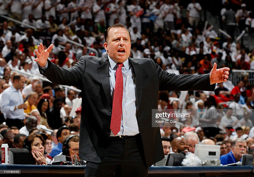 Tom Thibodeau of the Chicago Bulls argues a call against the Atlanta Hawks in Game Six of the Eastern Conference Semifinals in the 2011 NBA Playoffs at Phillips Arena on May 12, 2011 in Atlanta, Georgia.