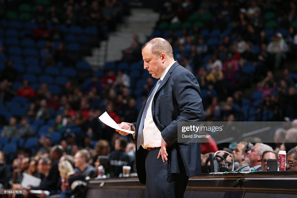 Tom Thibodeau of the Minnesota Timberwolves coaches during an NBA preseason game against the Charlotte Hornets on October 21, 2016 at the Target Center in Minneapolis, Minnesota.