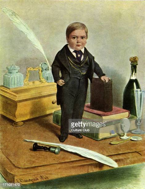 Tom Thumb standing on a table by books Caption 'He is smaller than any infant that ever walked alone is 25 inches in height and weighs only 15...