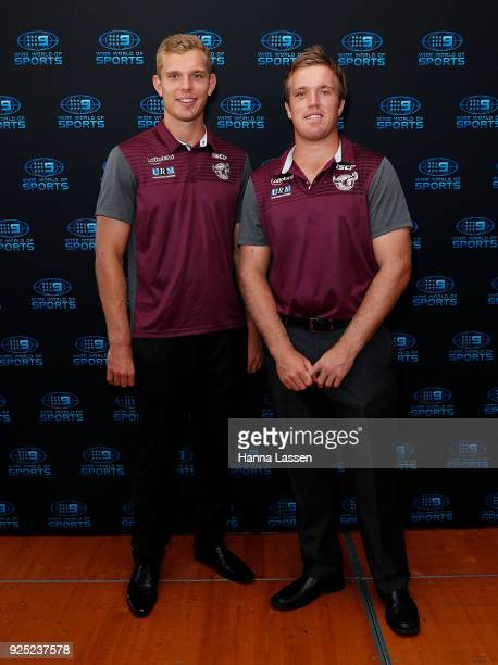Tom Trbojevic and Jake Trbojevic attend the Nine Network 2018 NRL Launch at the Australian Maritime Museum on February 28 2018 in Sydney Australia