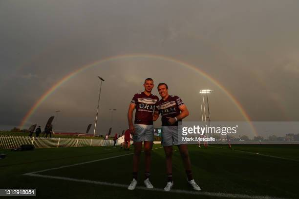 Tom Trbojevic and Jake Trbojevic of the Sea Eagles pose after victory during the round six NRL match between the Manly Sea Eagles and the Gold Coast...