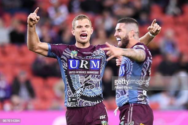 Tom Trbojevic and Joel Thompson of the Sea Eagles celebrate victory during the round ten NRL match between the Manly Sea Eagles and the Brisbane...