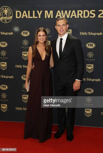 Tom Trbojevic and Kat Hubner arrive ahead of the 2017 Dally M Awards at The Star on September 27 2017 in Sydney Australia
