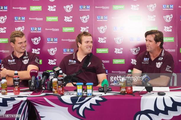 Tom Trbojevic, Jake Trbojevic and Des Hasler during Manly Warringah Sea Eagles media conference at the Sydney Academy of Sport on November 15, 2019...