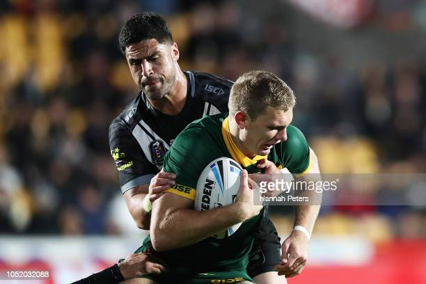 Tom Trbojevic of Australia charges forward during the international Rugby League Test Match between the New Zealand Kiwis and the Australia Kangaroos...