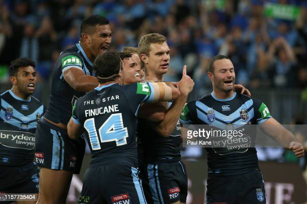 Tom Trbojevic of New South Wales celebrates a try during game two of the 2019 State of Origin series between the New South Wales Blues and the...