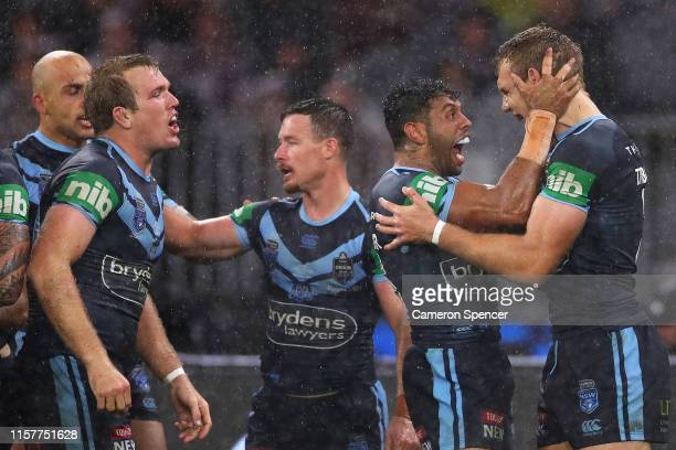 Tom Trbojevic of the Blues is congratulated by team mate Josh Addo-Carr of the Blues after scoring a try during game two of the 2019 State of Origin...