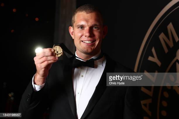 Tom Trbojevic of the Manly Warringah Sea Eagles poses after winning the Dally M medal during the NRL 2021 Dally M Awards at the Howard Smith Wharves...