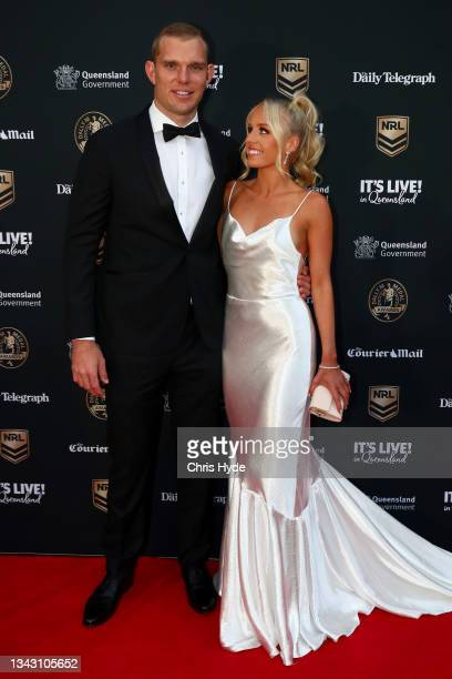 Tom Trbojevic of the Sea Eagles and his partner Kristi Wilkinson attend the NRL 2021 Dally M Awards at the Howard Smith Wharves on September 27, 2021...
