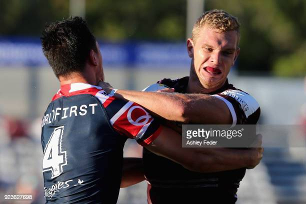 Tom Trbojevic of the Sea Eagles in action during the NRL Trial match between the Manly Sea Eagles and the Sydney Roosters at Central Coast Stadium on...