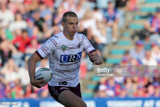 Tom Trbojevic of the Sea Eagles in action during the round one NRL match between the Newcastle Knights and the Manly Sea Eagles at McDonald Jones...