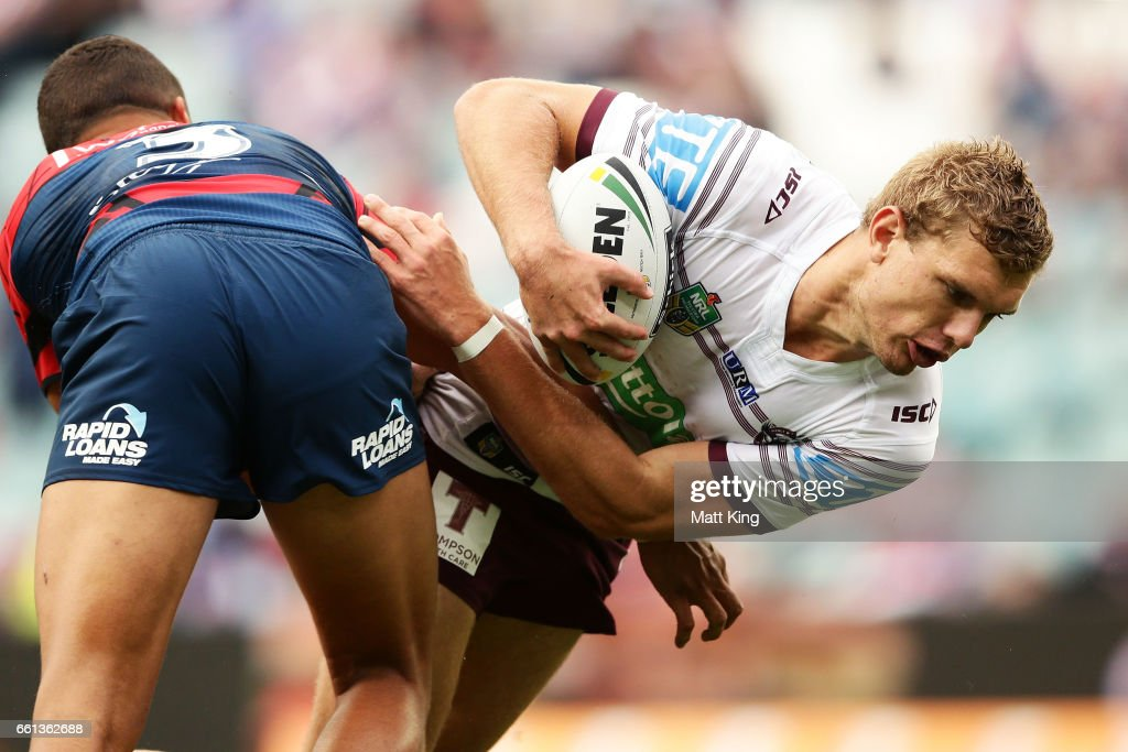 Tom Trbojevic of the Sea Eagles is tackled during the round five NRL match between the Sydney Roosters and the Manly Sea Eagles at Allianz Stadium on March 31, 2017 in Sydney, Australia.