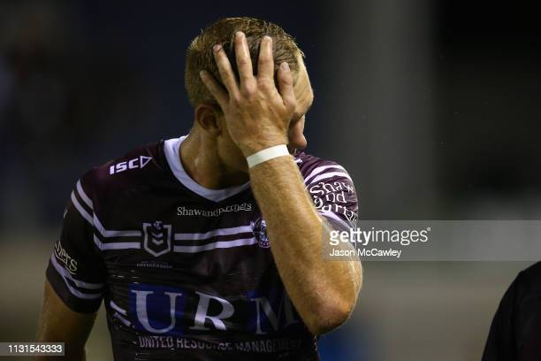 Tom Trbojevic of the Sea Eagles leaves the field after sustaining an injury during the NRL Trial match between the Cronulla Sharks and the Manly Sea...