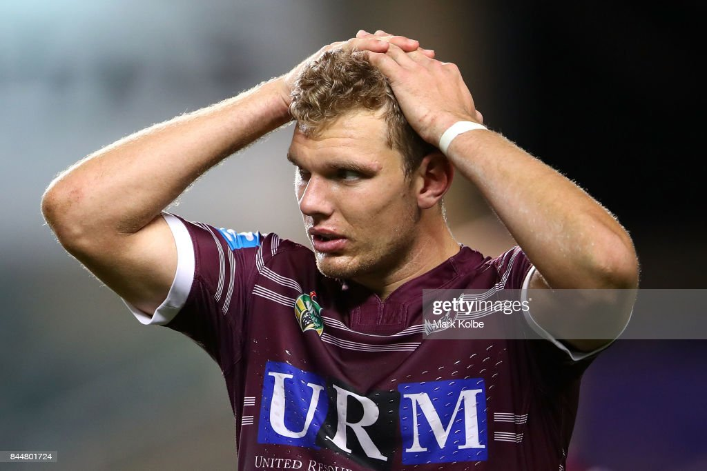 Tom Trbojevic of the Sea Eagles looks dejected after defeat during the NRL Elimination Final match between the Manly Sea Eagles and the Penrith Panthers at Allianz Stadium on September 9, 2017 in Sydney, Australia.