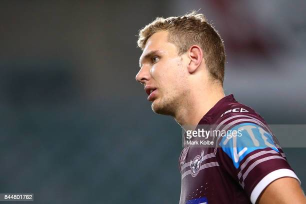Tom Trbojevic of the Sea Eagles looks dejected after defeat during the NRL Elimination Final match between the Manly Sea Eagles and the Penrith...