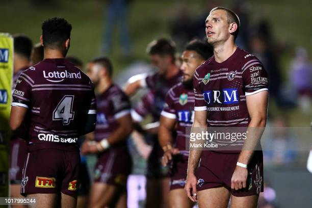 Tom Trbojevic of the Sea Eagles looks dejected during the round 23 NRL match between the Manly Sea Eagles and the Gold Coast Titans at Lottoland on...