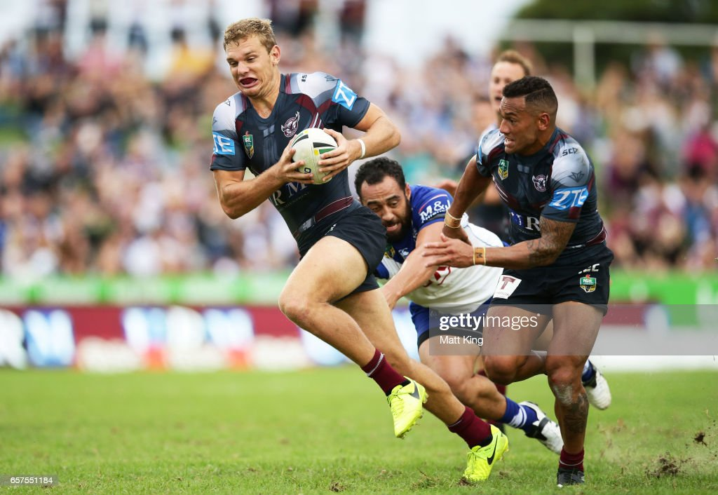 Tom Trbojevic of the Sea Eagles makes a break during the round four NRL match between the Manly Warringah Sea Eagles and the Canterbury Bulldogs at Lottoland on March 25, 2017 in Sydney, Australia.