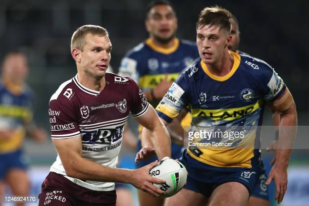Tom Trbojevic of the Sea Eagles passes during the round four NRL match between the Parramatta Eels and the Manly Sea Eagles at Bankwest Stadium on...