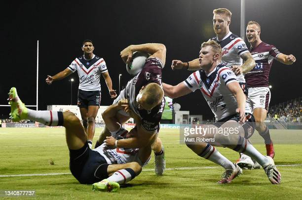 Tom Trbojevic of the Sea Eagles scores a try during the NRL Semi-Final match between the Manly Sea Eagles and the Sydney Roosters at BB Print Stadium...