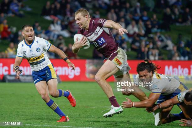 Tom Trbojevic of the Sea Eagles with the ball during the round 22 NRL match between the Manly Sea Eagles and the Parramatta Eels at Sunshine Coast...