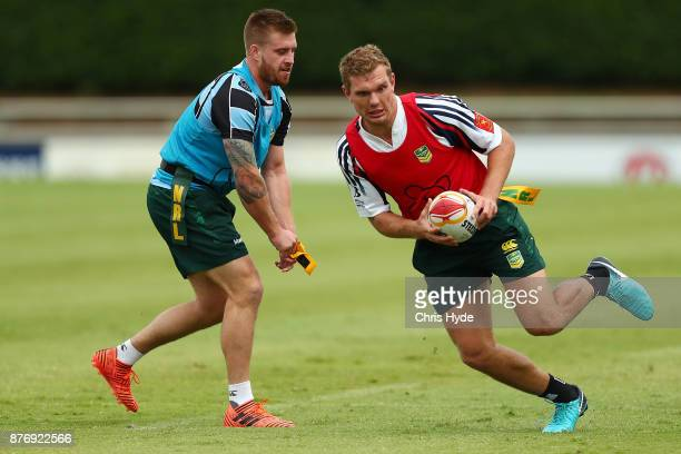 Tom Trbojevic runs the ball during an Australian Kangaroos Rugby League World Cup training session at Langlands Park on November 21 2017 in Brisbane...