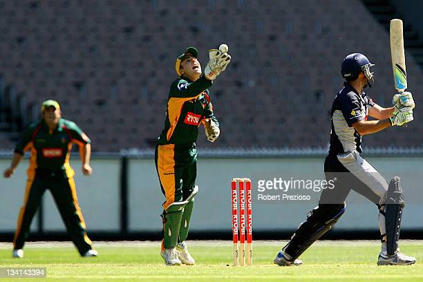 Tom Triffitt of the Tigers celebrates after taking a catch to dismiss Robert Quiney of the Bushrangers during the Ryobi One Day Cup match between the...