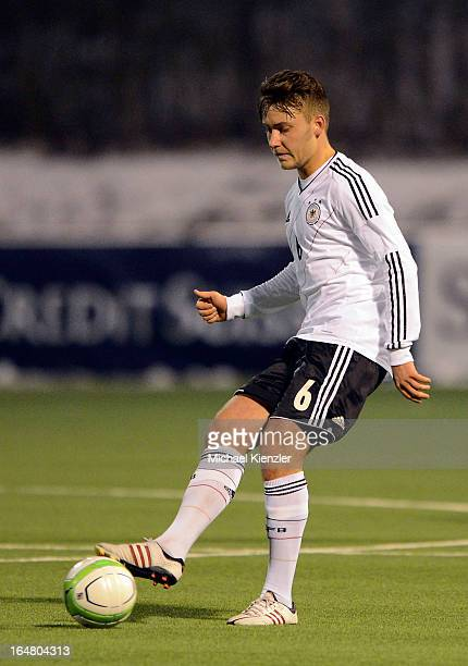 Tom Trybull of Germany passes the ball during the international friendly match between U20 Switzerland and U20 Germany at Eps Stadium on March 26...
