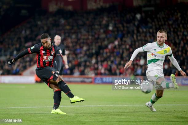 Tom Trybull of Norwich City blocks Jordon Ibe of Bournemouth shot during the Carabao Cup Fourth Round match between AFC Bournemouth and Norwich City...