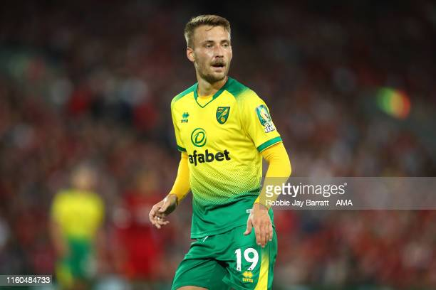 Tom Trybull of Norwich City during the Premier League match between Liverpool FC and Norwich City at Anfield on August 9, 2019 in Liverpool, United...