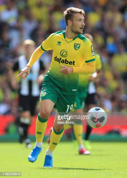 Tom Trybull of Norwich City during the Premier League match between Norwich City and Newcastle United at Carrow Road on August 17, 2019 in Norwich,...