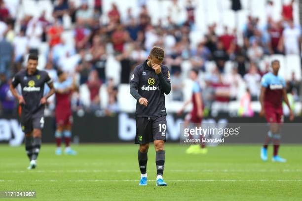 Tom Trybull of Norwich City looks dejected following his sides defeat in the Premier League match between West Ham United and Norwich City at London...