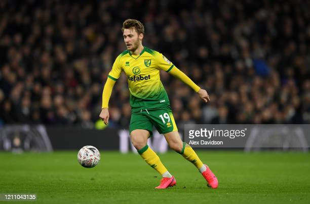 Tom Trybull of Norwich City runs with the ball during the FA Cup Fifth Round match between Tottenham Hotspur and Norwich City at Tottenham Hotspur...