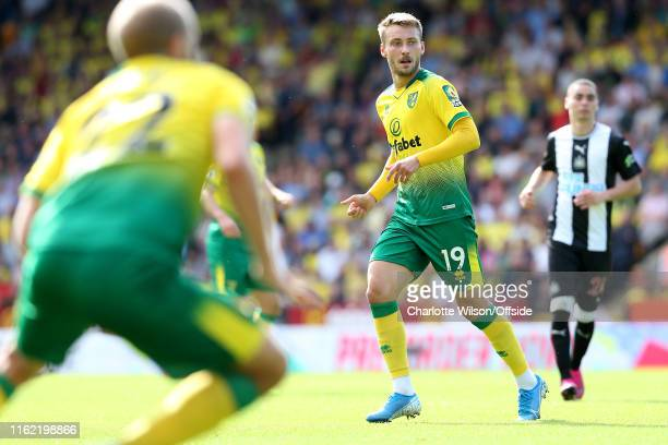 Tom Trybull of Norwich during the Premier League match between Norwich City and Newcastle United at Carrow Road on August 17, 2019 in Norwich, United...