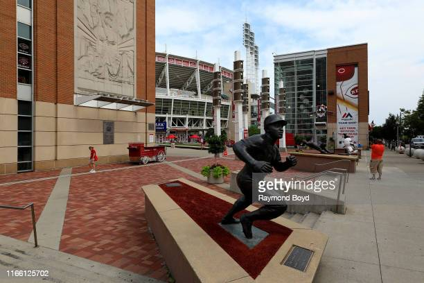 Tom Tsuchiya's 'Joe Morgan' statue stands outside Great American Ballpark, home of the Cincinnati Reds baseball team in Cincinnati, Ohio on July 29,...