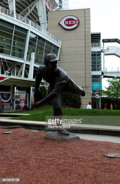 Tom Tsuchiya's Joe Nuxhall statue stands outside Great American Ball Park, home of the Cincinnati Reds baseball team in Cincinnati, Ohio on July 20,...