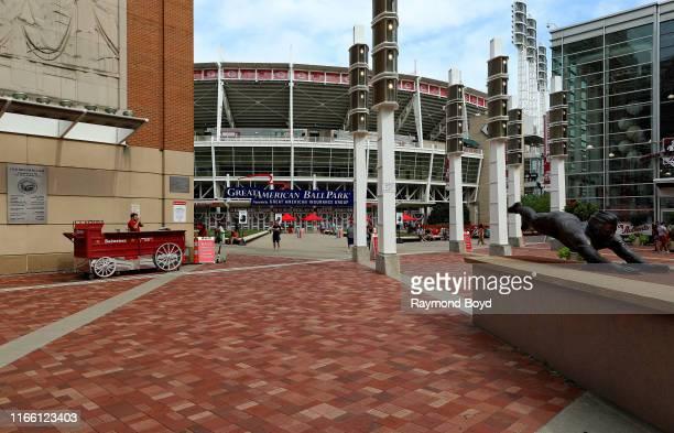 Tom Tsuchiya's 'Pete Rose' statue outside Great American Ballpark home of the Cincinnati Reds baseball team in Cincinnati Ohio on July 29 2019...