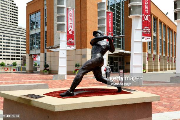 Tom Tsuchiya's Tony Perez statue stands outside Great American Ball Park home of the Cincinnati Reds baseball team in Cincinnati Ohio on July 21 2017...