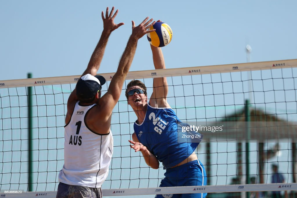 Tom van Walle of Belgium in action with Dries Koekelkoren of Belgium during the match against Cole Durant and Zachery Schubert of Australia on Day 3 of 2017 FIVB Beach Volleyball World Tour Qinzhou Open on October 13, 2017 in Qinzhou, China.
