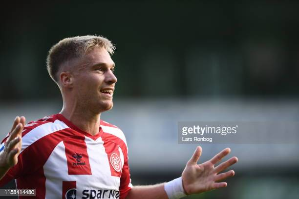 Tom van Weert of AaB Aalborg celebrates after scoring their first goal during the Danish 3F Superliga match between AaB Aalborg and Silkeborg IF at...
