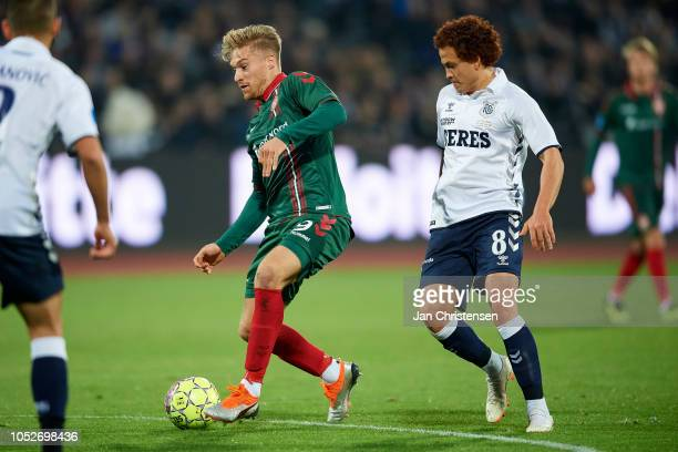 Tom van Weert of AaB Aalborg controls the ball during the Danish Superliga match between AGF Arhus and AaB Aalborg at Ceres Park on October 21 2018...