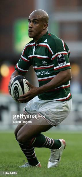 Tom Varndell of Leicester Tigers charges foward during the pre-season friendly match between Leicester Tigers and Toulon at Welford Road on August...