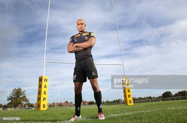 Tom Varndell of Wasps poses at the photocall held at Twyword Avenue on August 29 2014 in Acton England