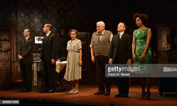 Tom VaughanLawlor Stephen Mangan Zoe Wanamaker Peter Wight Toby Jones and Pearl Mackie bow at the curtain call during the press night performance of...