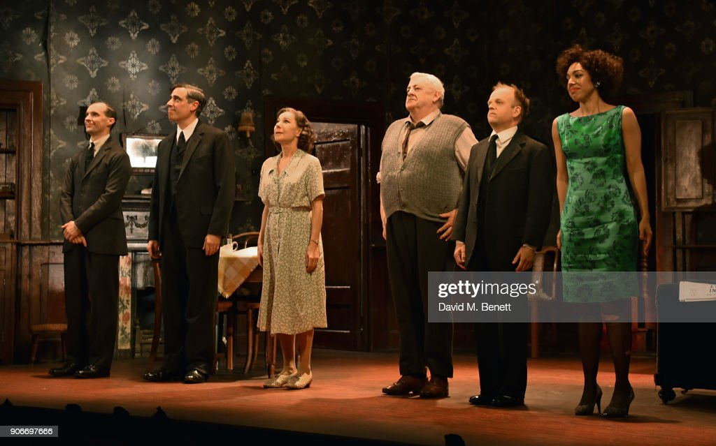 Tom Vaughan-Lawlor, Stephen Mangan, Zoe Wanamaker, Peter Wight, Toby Jones and Pearl Mackie bow at the curtain call during the press night performance of 'The Birthday Party' at The Harold Pinter Theatre on January 18, 2018 in London, England.