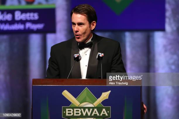 Tom Verducci introduces American League Cy Young Award winner Blake Snell of the Tampa Bay Rays speaks during the 2019 Baseball Writers' Association...