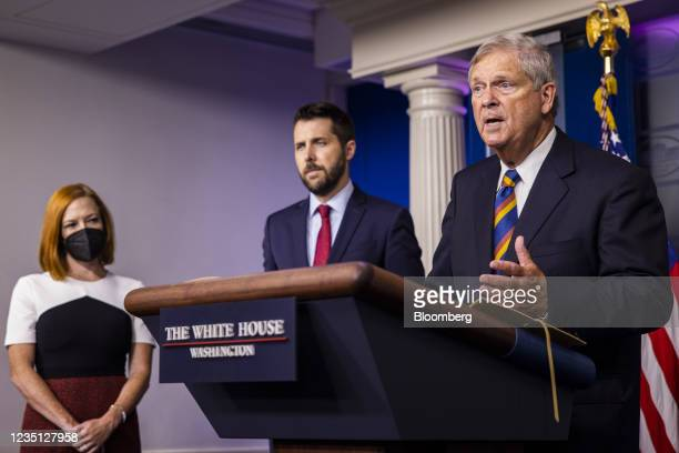 Tom Vilsack, U.S. Secretary of agriculture, from right, speaks during a news conference with Brian Deese, director of the National Economic Council,...