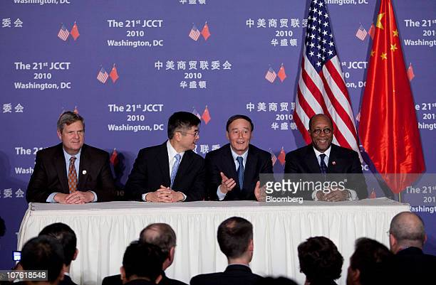 Tom Vilsack US secretary of agriculture left to right Gary Locke US secretary of commerce Wang Qishan vice premier of China and Ron Kirk US trade...